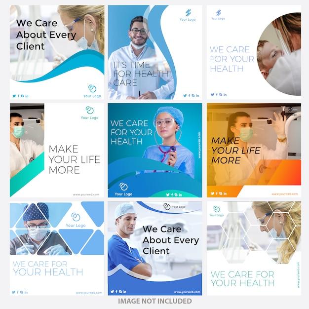 Modelos de posts de mídia social médica Vetor Premium