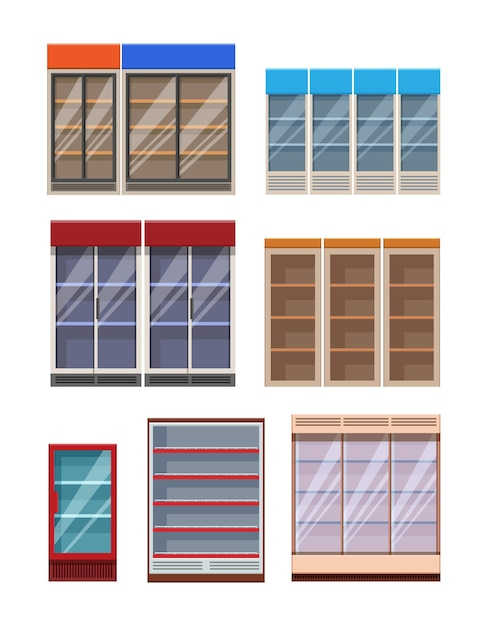 Modelos de prateleiras de supermercado e geladeiras vazias em estilo catroon plano Vetor Premium