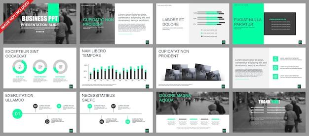 Modelos de slides de apresentação de negócios de elementos de infográfico Vetor Premium