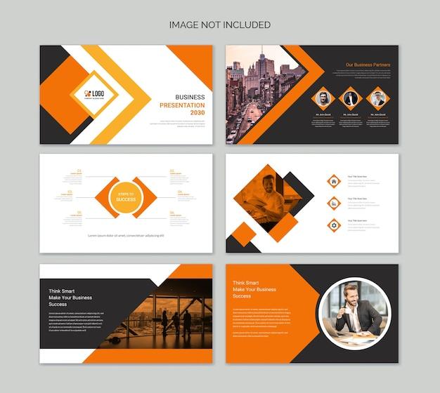 Modelos de slides de apresentação em power point de negócios Vetor Premium