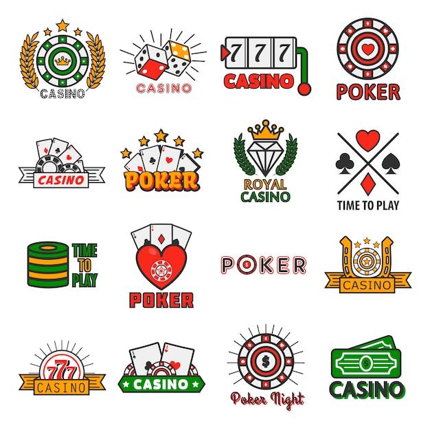 Modelos de vetor de pôquer de cassino de fichas e cartões de jogo Vetor Premium