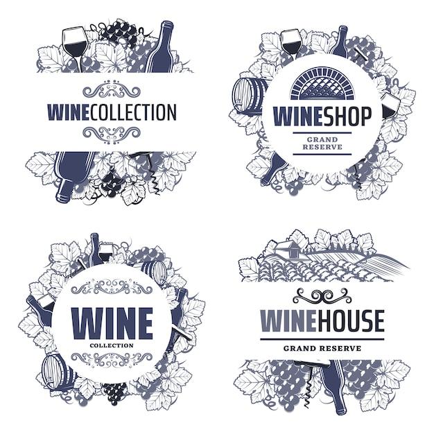 Modelos de vinhos tradicionais vintage com inscrições garrafas taças de vinho cacho de uvas barril saca-rolhas vinhedo isolado Vetor grátis