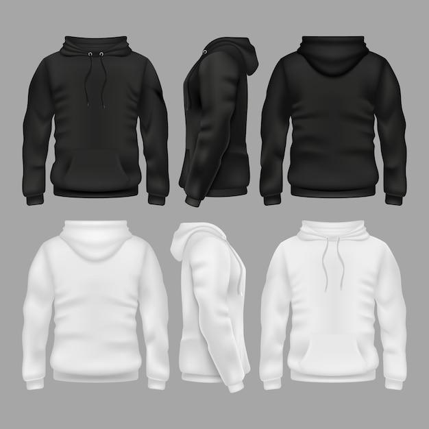 Modelos em branco preto e branco do vetor do hoodie da camisola. ilustração de moletom com capuz Vetor Premium