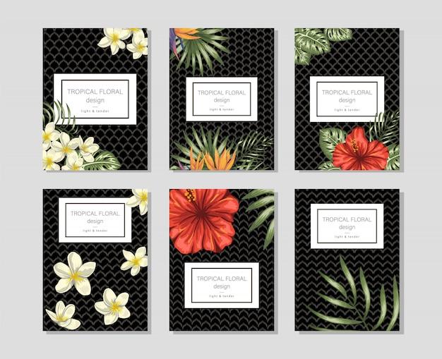 Modelos florais tropicais com cachos de mão desenhada de plumeria, hibisco, monstera. Vetor Premium