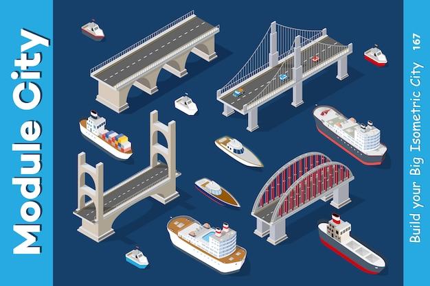 Modelos isométricos de navios Vetor Premium