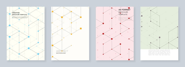 Modelos mínimos para panfleto, folheto, folheto, relatório, apresentação. Vetor Premium