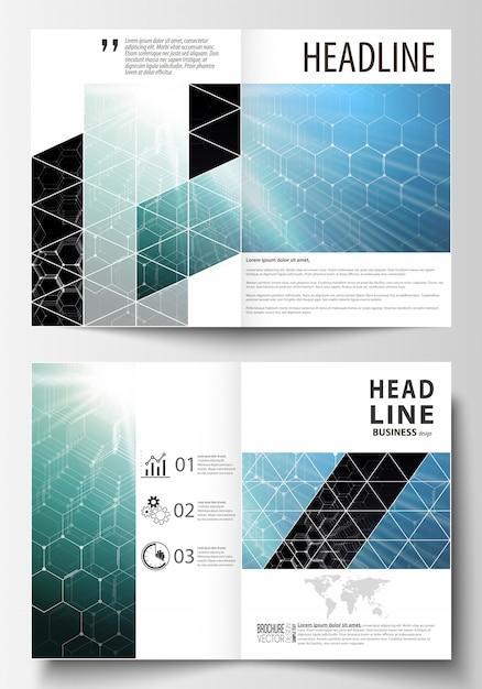 Modelos para folheto, revista, folheto ou relatório. Vetor Premium