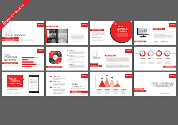 Modelos vermelhos da apresentação para o fundo da mostra de corrediça. Vetor Premium