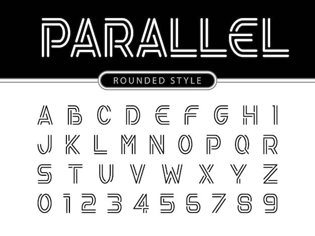 Modern alphabet letters, linhas paralelas estilizadas fontes arredondadas Vetor Premium