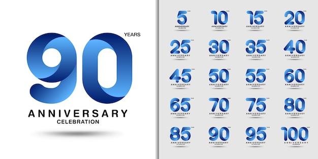 Modern anniversary celebration logotype set. Vetor Premium