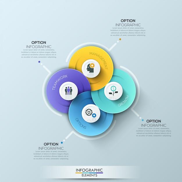 Modern circle business infographics elements Vetor Premium