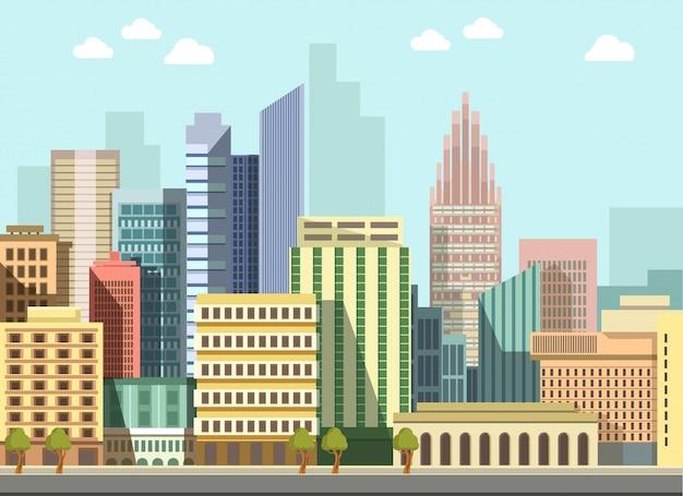 Modern city city landscape edifícios de panorama de dia plana de vetor Vetor Premium