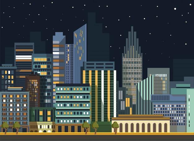 Modern city city landscape edifícios de panorama de noite plana de vetor Vetor Premium