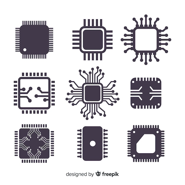Modern cpu coleção com design plano Vetor grátis