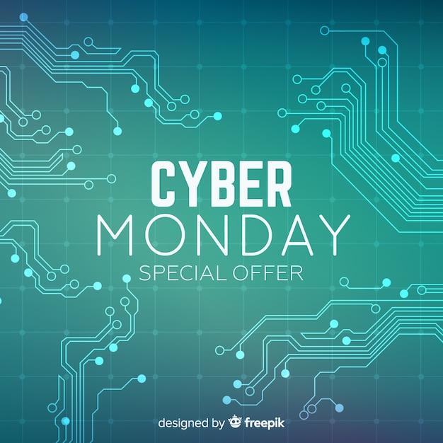Modern cyber segunda-feira composição com design plano Vetor grátis