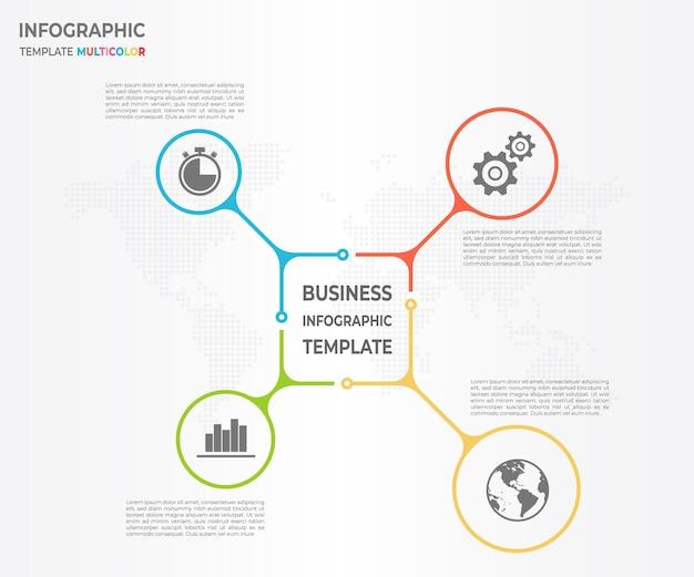 Modern diagrama infográfico círculo 4 opções Vetor Premium