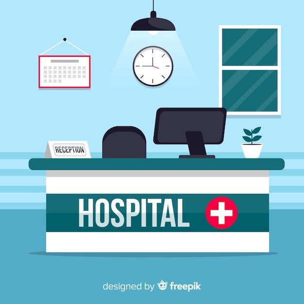 Modern hospital reception com design plano Vetor grátis