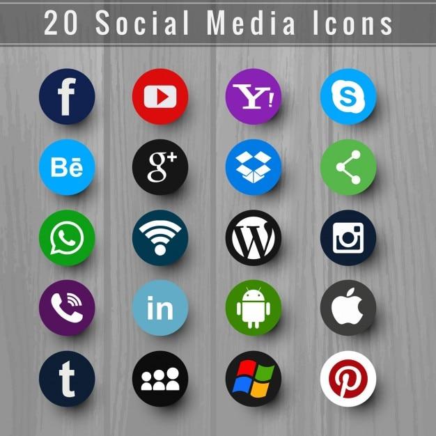 Modern ícone de mídia social set Vetor grátis