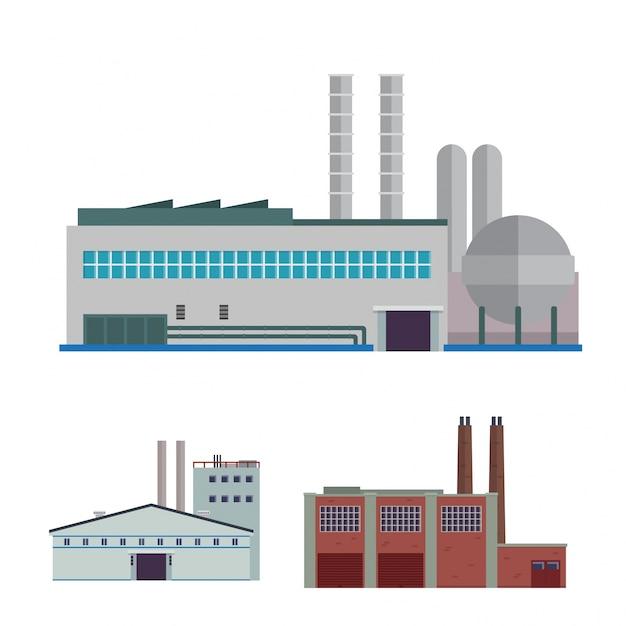 Modern industrial factory e warehouse logistic building illustration set Vetor grátis