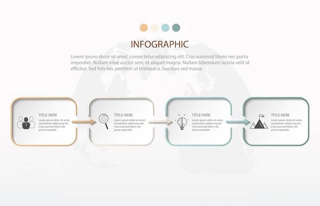 Modern infographics quatro passos. elemento de gráfico, gráfico, diagrama com 4 opções. Vetor Premium