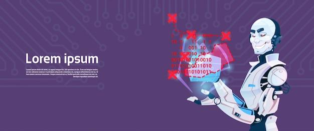 Modern robot coding, tecnologia de mecanismo de inteligência artificial futurista Vetor Premium