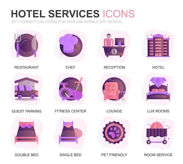 Modern set hotel service gradiente ícones planas Vetor Premium