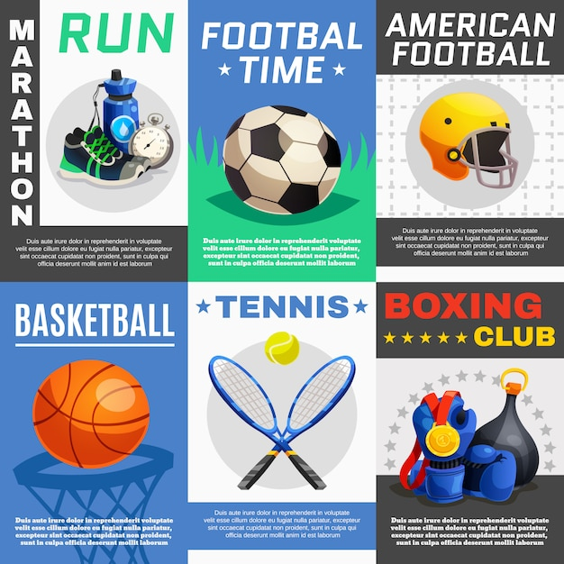 Modern sport posters set Vetor grátis