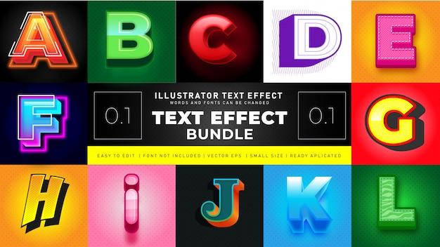Modern text effect bundle 1 Vetor grátis