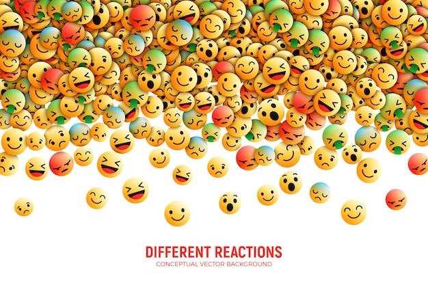 Modern vector 3d facebook emoji ilustração conceitual de arte Vetor Premium