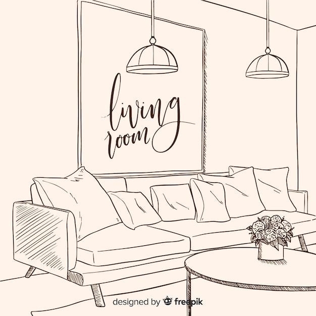 Moderna mão desenhada sala de estar Vetor grátis