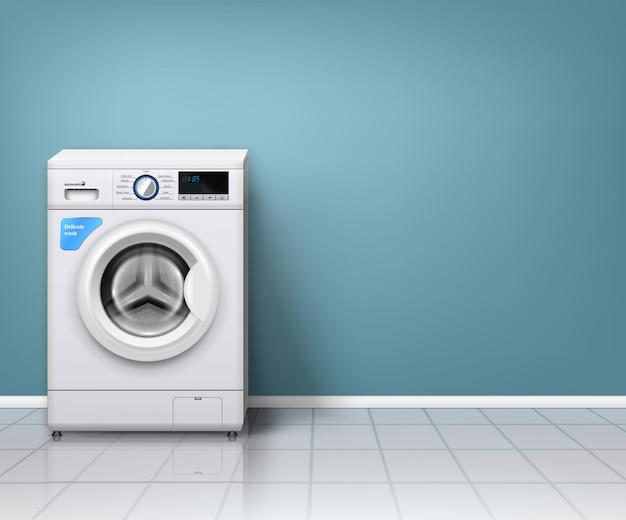 Moderna máquina de lavar roupa na lavanderia vazia Vetor grátis