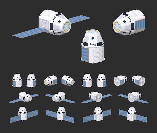 Moderna nave espacial 3d isométrica lowpoly reutilizável Vetor Premium