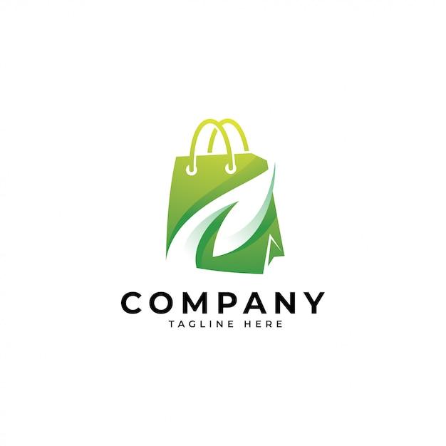 Moderna sacola de compras e logotipo de folha verde Vetor Premium