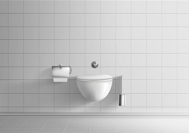 Moderna sala de banheiro minimalista interior realista vector maquete com paredes de azulejos brancos e piso Vetor grátis
