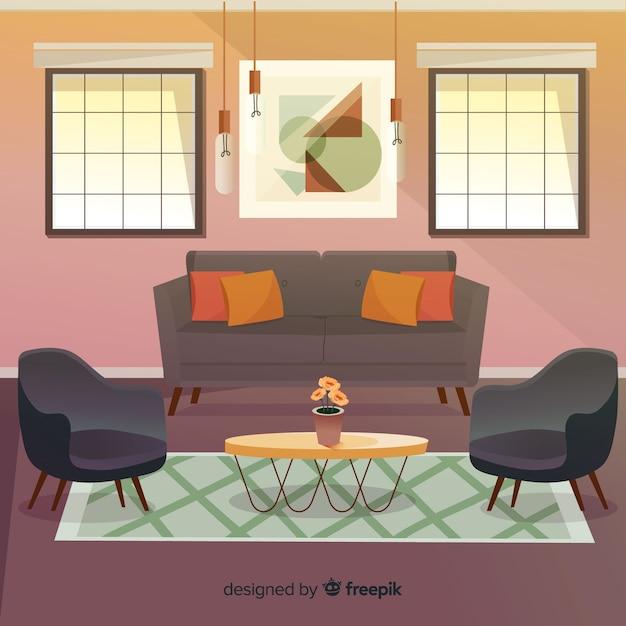 Moderna sala de estar com design plano Vetor grátis