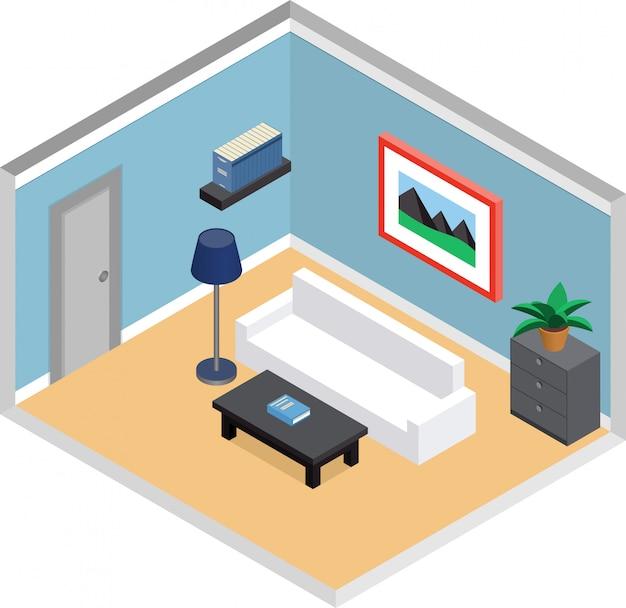 Moderna sala de estar com móveis e porta. interior em estilo isométrico. ilustração d. Vetor Premium