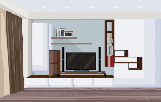 Moderna sala de estar com tv grande e prateleiras para livros e molduras Vetor grátis