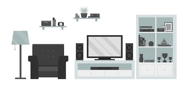 Moderna sala de estar zona de tv: poltrona, prateleira, luminária, tv, dvd e sistema de som Vetor Premium