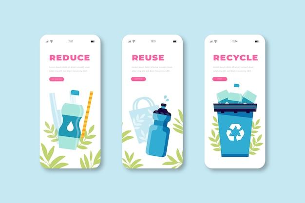 Modernas telas de aplicativos de reciclagem onboard Vetor grátis