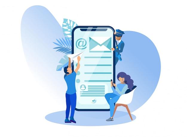 Modernmobile application users e-mail cartoon. Vetor Premium