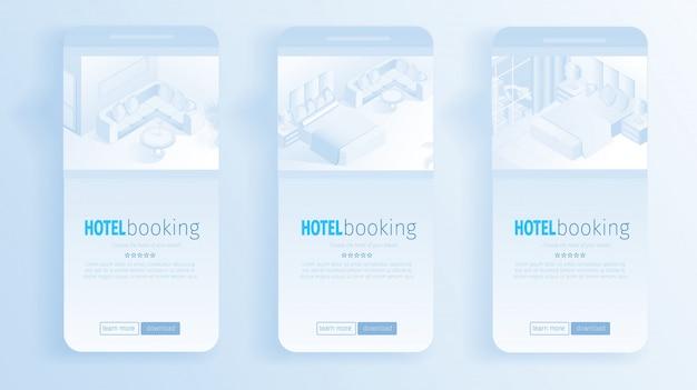 Moderno apartamento interior banners online booking Vetor Premium