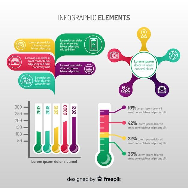 Moderno conjunto de elementos de infografia com design plano Vetor grátis
