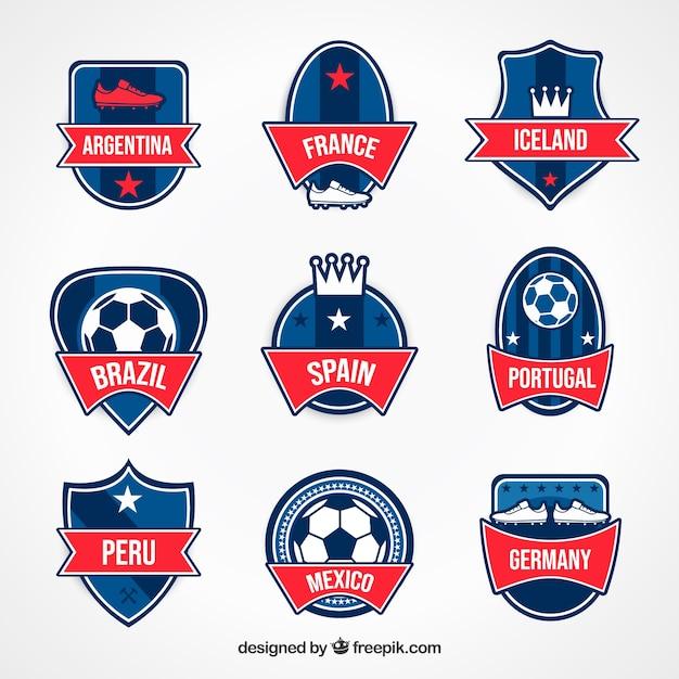 Moderno conjunto de emblemas de futebol Vetor grátis