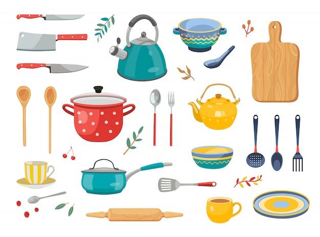 Moderno conjunto de ícones plana de várias ferramentas de cozinha Vetor grátis