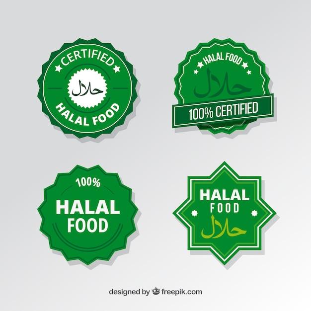 Moderno conjunto de rótulos de alimentos halal com design plano Vetor Premium