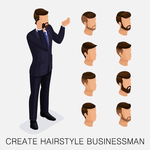 Moderno conjunto isométrico 5, estudo qualitativo, um conjunto de penteados masculinos, estilo hippie. Vetor Premium