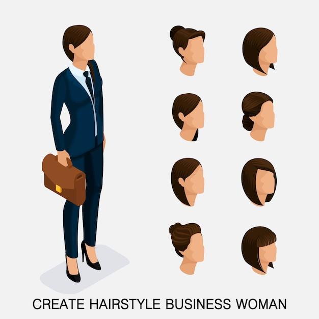 Moderno conjunto isométrico 6, penteados femininos. mulher de negócios jovem, penteado, cor de cabelo, isolada. crie uma imagem Vetor Premium