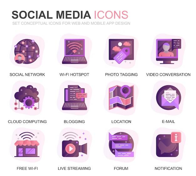 Moderno conjunto social media e rede gradiente plana ícones Vetor Premium