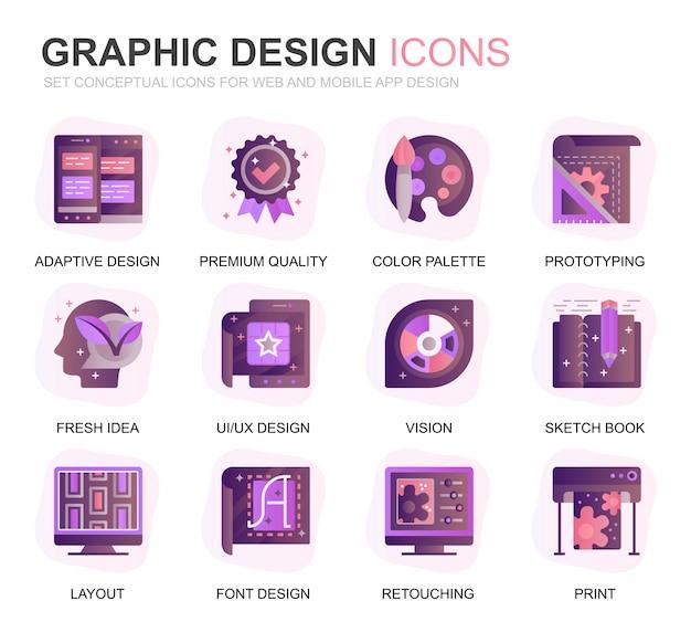 Moderno conjunto web e design gráfico gradiente ícones plana Vetor Premium