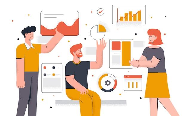 Moderno de análise de dados. jovem e mulher trabalhando juntos no projeto. trabalho de escritório e gerenciamento de tempo. fácil de editar e personalizar. ilustração Vetor Premium